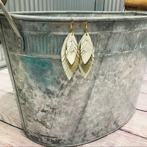 """""""Heather"""" Leather Earrings- White"""